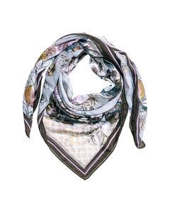 Mönstrad scarf Ljusblå/Blommig