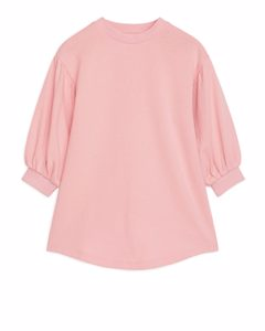 Puff Sleeve Sweatshirt Dress Pink