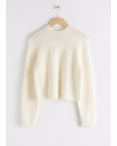 Ribbed Mock Neck Wool Blend Sweater White