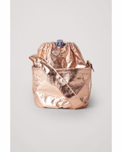 Metallic Bucket Bag Rose Gold