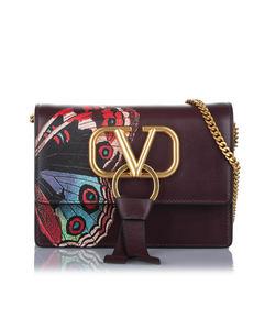 Valentino Vring Leather Crossbody Bag Purple