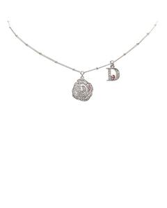 Dior Stone Pendant Necklace Silver