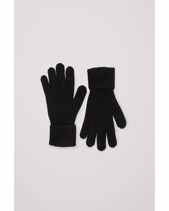 COS Ribbed Cashmere Gloves Black