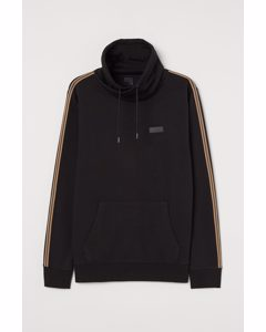 Sweatshirt mit Tunnelkragen Schwarz
