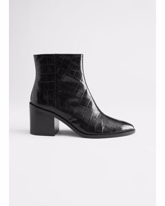 Croc Embossed Leather Ankle Boots Black Croco