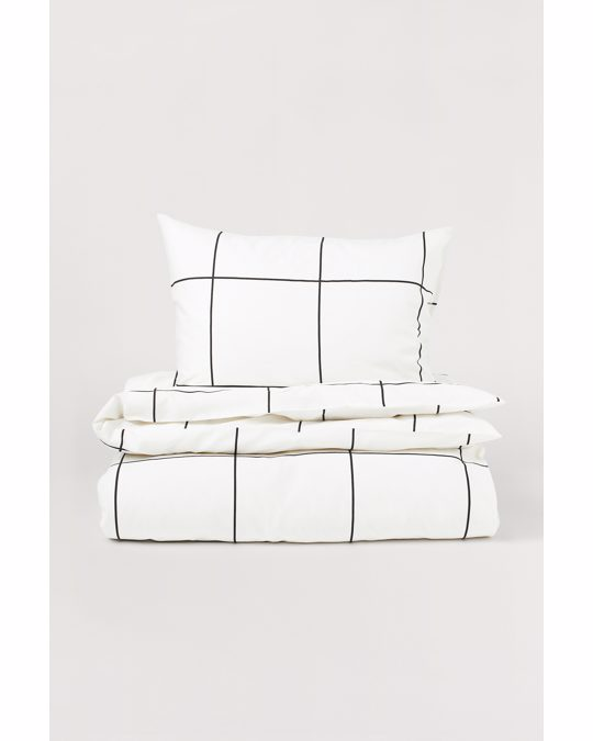 H&M HOME Checked Duvet Cover Set White/black Checked