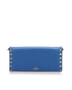 Valentino Rockstud Leather Wallet On Chain Blue