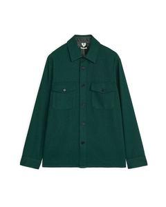 Wool Blend Overshirt Dark Green