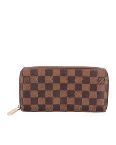 Louis Vuitton Damier Ebene Zippy Long Wallet Brown
