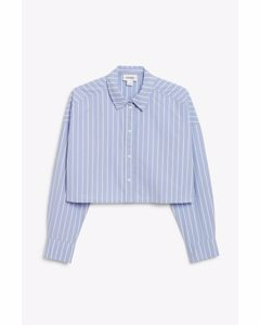 Cropped Shirt Blue And White Stripes