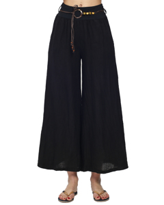 Full Length Skirt Pants Flared Linen Belt Included