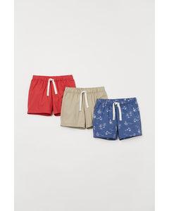 Set Van 3 Katoenen Shorts Blauw/zeilboten