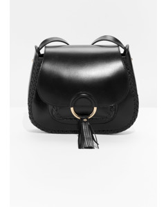 Woven Detail Leather Saddle Bag Black