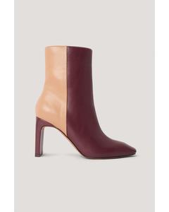 Two Toned Square Toe Boots Multicolor