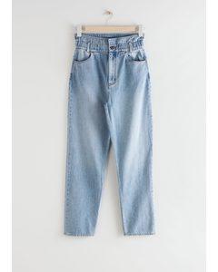 Straight Paperbag Waist Jeans Light Blue