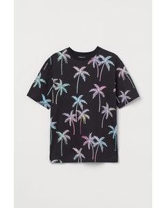 Oversized T-shirt Black/palm Trees