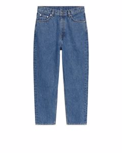 Tapered Cropped Jeans Mid Blue