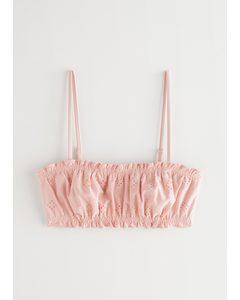 Eyelet Embroidered Bandeau Bikini Top Pink
