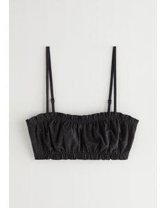 Eyelet Embroidered Bandeau Bikini Top Black