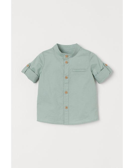 H&M Overhemd Met Halsboordje Lichtgroen