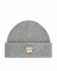 Wool Blend Beanie Grey Melange