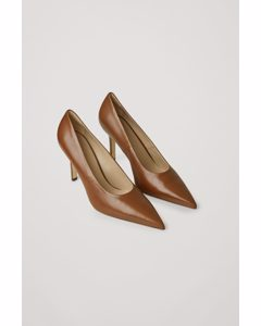 Pointed Leather High Heels Brown