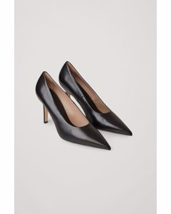 Pointed Leather High Heels Black