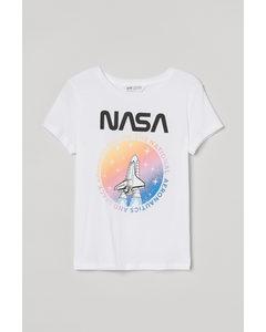 T-shirt Med Tryck Vit/nasa