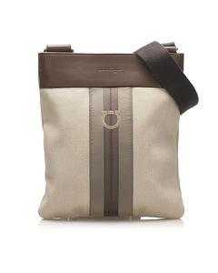Ferragamo Gancini Canvas Crossbody Bag Brown