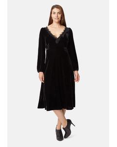 V-neck Angela Midi Dress In Black Velvet
