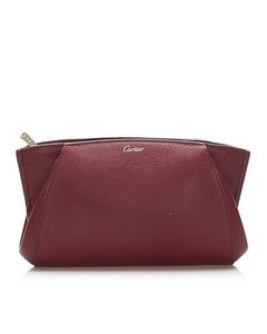 Cartier C De Cartier Leather Clutch Bag Red