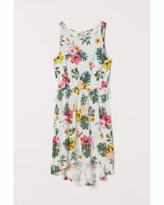 Kleid aus Crêpe-Jersey Naturweiß/Tropenblumen