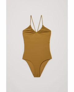 Drawstring Swimsuit Dark Mustard