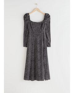 Satin Square Neck Midi Dress Black Dots