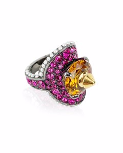 Gucci Pink Embellished Crystal Pearl Spike Ring Size 13 Never Worn