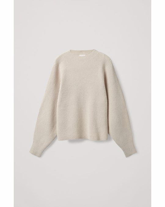 COS Ribbed Knitted Jumper Light Beige