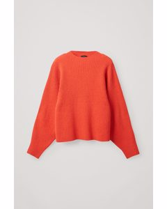 Ribbed Knitted Jumper Red