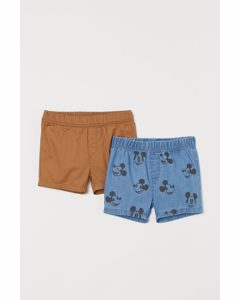 Set Van 2 Shorts Met Print Denimblauw/mickey Mouse