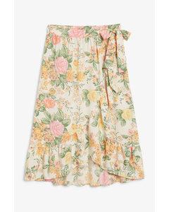 Wrap Midi Skirt Orange Floral Print