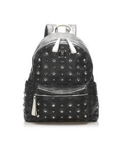 Mcm Visetos Studded Leather Backpack Black