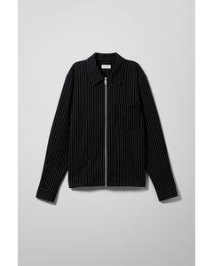 Ahmed Pinstripe Zip Shirt Black/stripe