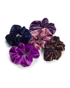 Velvet Scrunchies 5-pack Purple