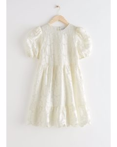 Puff Sleeve Jacquard Mini Dress White