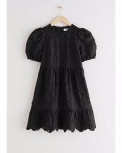 Puff Sleeve Jacquard Mini Dress Black