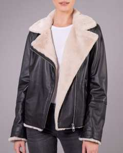 Bella Pile Leather Jacket Black