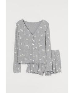 Pyjamas I Bomullsmix Gråmelerad/blommig
