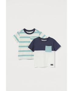 2-pack T-shirt Med Ficka Naturvit/randig