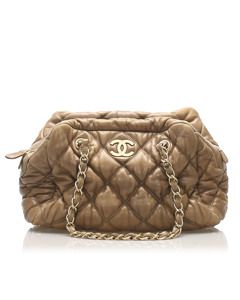 Chanel Classic Bubble Lambskin Leather Shoulder Bag Brown