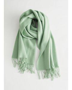 Wool Fringed Blanket Scarf Pistachio Green