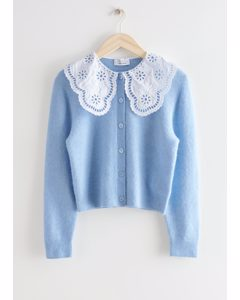 Embroidered Statement Collar Knit Cardigan Light Blue